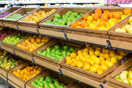 the shelf: Row vegetable shelf at the supermarket Stock Photo