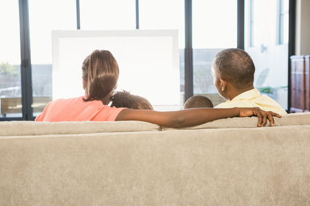 over the shoulder view: Over shoulder view of casual family watching tv in living room