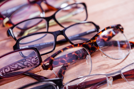 reading glasses: View of reading glasses on table