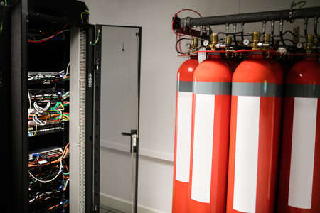 fire extinguishers: Fire extinguishers in server room at the data centre
