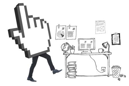 cursor: Cursor with legs against doodle office