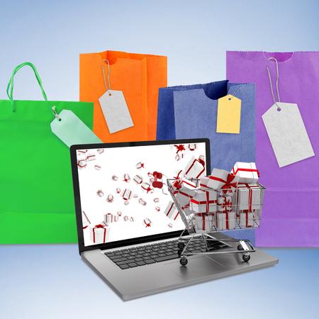 gift spending: Trolley full of gifts on laptop against purple vignette