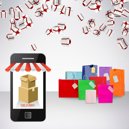 gift bag: Delivery app on mobile phone screen against gift bag Stock Photo