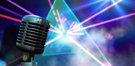 laser lights: Digitally generated retro chrome microphone against digitally generated laser lights background Stock Photo