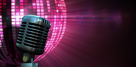 Digitally generated retro chrome microphone against digitally generated cool disco ball design