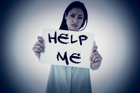 help me: Sad woman showing sign against help me