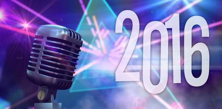 laser lights: Digitally generated retro chrome microphone against digitally generated laser lights background Stock Photo
