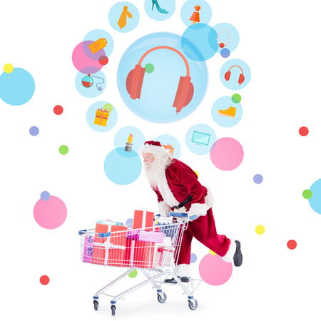 jewlery: Santa pushing a shopping cart against dot pattern