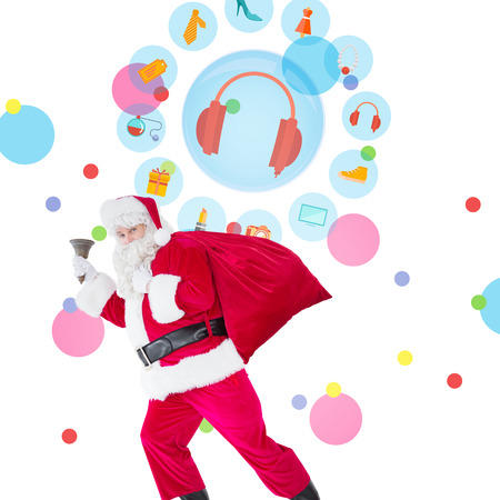 jewlery: Santa walking with his sack and bell against dot pattern