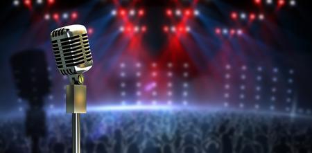 microfono antiguo: generada digitalmente Micr�fono retro en el soporte contra la discoteca generada digitalmente bajo luces