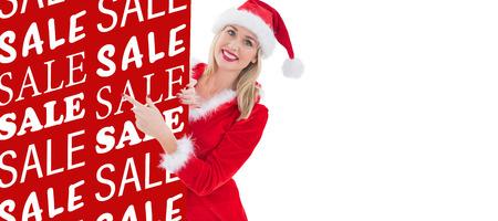 pere noel sexy: Festive montrant blond carte blanche sur fond blanc avec vignette