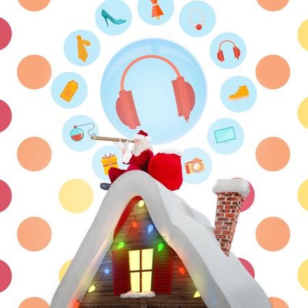 polka dot pattern: Santa sitting on roof of cottage against colorful polka dot pattern