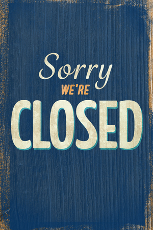 closed sign: A Vintage blue closed sign