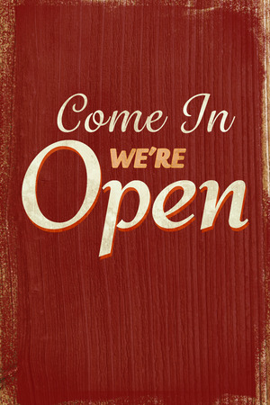 come in: A Vintage coloured open sign saying come in