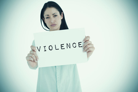 long depression: Sad woman showing sign against violence Stock Photo