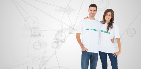 tshirt: Two cheerful people wearing volunteer tshirt against interface with graphs