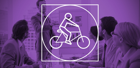 board room: Digital image of man riding bicycle against business people in board room meeting