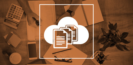 document management: Document against cloud over white background against man writing on paper