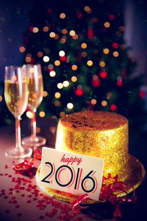 celebratory event: Digital composite of Table at new years eve celebration Stock Photo