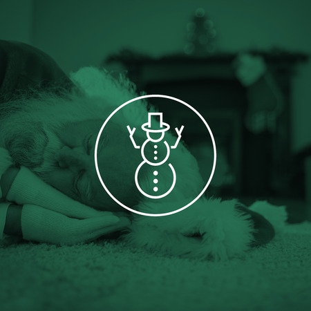 hedonism: Santa claus resting on the rug against snowman Stock Photo