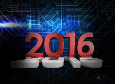 2016 graphic against futuristic black and blue background