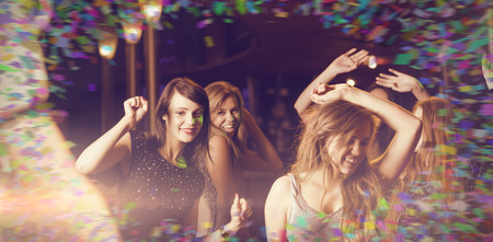 hedonistic: Colour frame against happy friends dancing by the dj booth Stock Photo