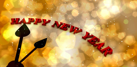 outstretched hand: Digitally generated image of happy new year on clock against light glowing dots design pattern