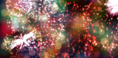 digitally  generated: Digitally generated colourful fireworks exploding on black background