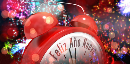 nuevo: Feliz ano nuevo in red alarm clock against colourful fireworks exploding on black background