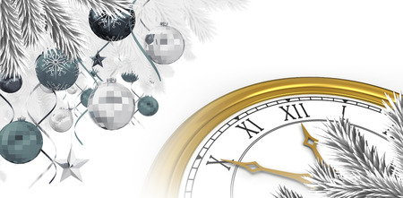 digitally generated image: Christmas tree decorated with golden ornaments against digitally generated image of a clock