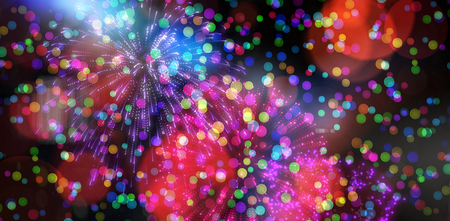 watch new year: Digitally generated colourful fireworks exploding on black background
