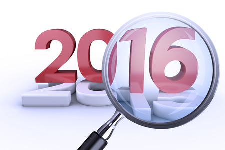 trouser legs: Magnifying glass against 2016 graphic Stock Photo