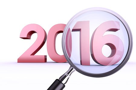 Magnifying glass against 2016 graphic Stock Photo