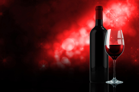 glass of red wine: Red wine against shimmering light design on red Stock Photo