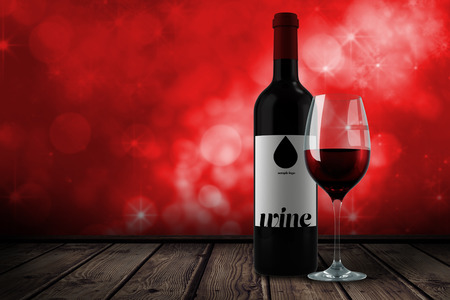 glass wine: Red wine against shimmering light design on red Stock Photo
