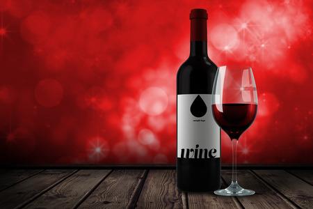 glas sekt: Rotwein gegen schimmernde Licht-Design auf rotem