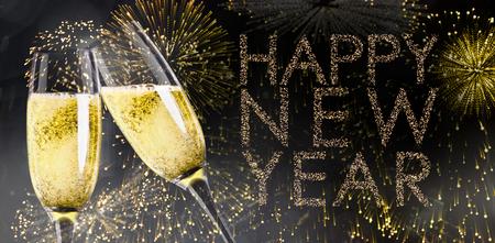 bebes lindos: tintineo de copas de champán contra el brillante feliz año nuevo