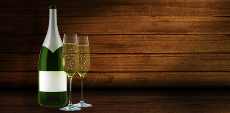 space wood: Champagne against overhead of wooden planks
