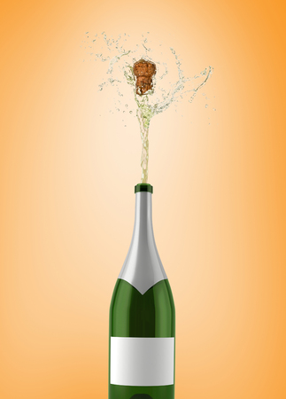 popping: Champagne popping against orange vignette