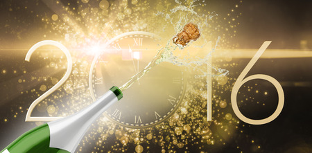 gold flute: Champagne popping against new year countdown graphic