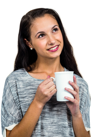day dreaming: Day dreaming woman holding white cup on white screen