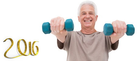 hand weights: Senior man lifting hand weights against white background with vignette Stock Photo
