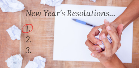 new years resolution: New years resolution list against close up view of a paper ball