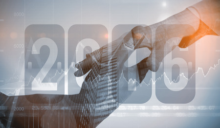 stocks and shares: New year graphic against stocks and shares