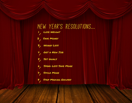 western script: List of new years resolution on white background against red curtain pulling back Stock Photo