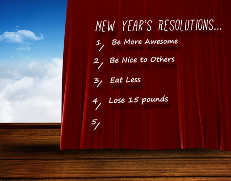 new years resolution: Catogory of new years resolution list on white background against red curtain pulling back Stock Photo