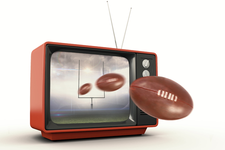 old fashioned tv: american football against american football arena Stock Photo