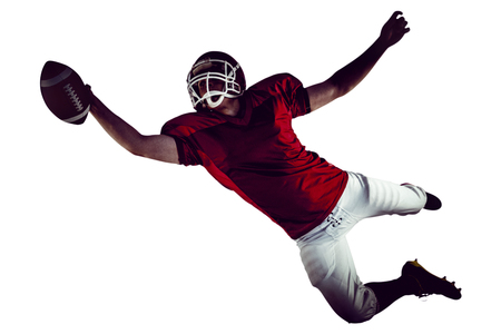 touchdown: American football player scoring a touchdown on a white background