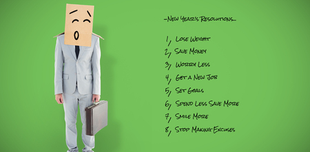 get dressed: Anonymous businessman against green vignette