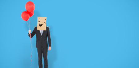 well dressed: Anonymous businessman against blue background with vignette